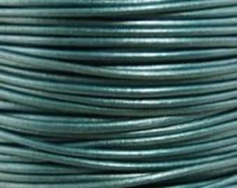 Metallic Truly Teal - 1.5 mm Round Leather Cord - By The Yard