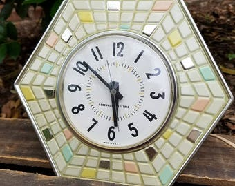 Vintage General Electric Wall Clock - Mosaic Tile w/ Atomic Colors and Silver Trim