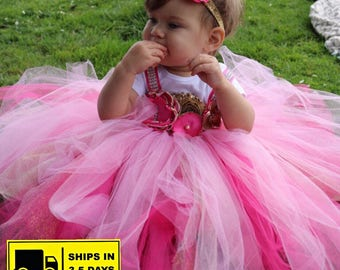 Beautiful baby girl first birthday dress gold , hot pink and baby pink 12-18 months