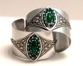 Aluminum Cuff, Emerald Glass Bracelet, Aluminum Filigree Jewelry