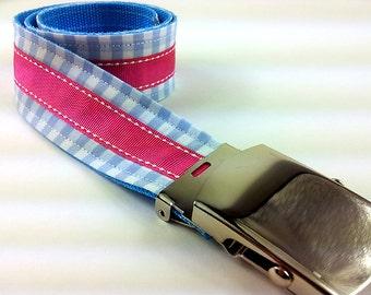 Blue checkered fabric - kids belt