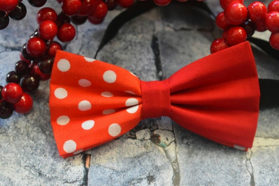 Festive red polka bow tie  for Baby, Toddlers and Boys  (Kids Bow Ties) with Braces / Suspenders