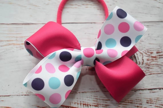 Pink and white Polka Dot Bow - Baby / Toddler / Girls / Kids Headband / Hairband / Hair bow / Barrette / Hairclip
