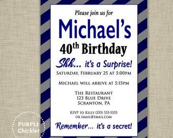 Navy Blue Surprise Party 18th 30th 40th Birthday Invitation Mens Masculine Invite Black Gray Invite Stripe Adult Party Printable Invite 354a