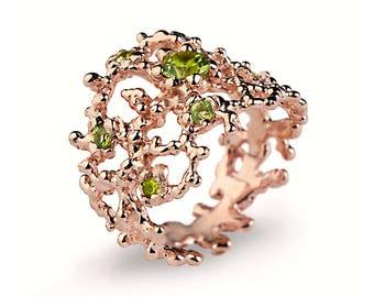 CORAL Peridot Ring, Rose Gold Peridot Ring, Statement Ring, Rose Gold Ring, Wide Gold Ring, Nature Inspired Ring