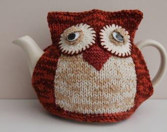 Owl tea cosy .Sleepy owl tea cosy . Will fit 2 pint tea pot. Owl cozie. Gift idea