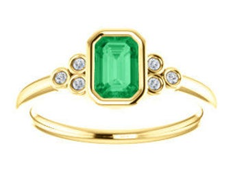 Emerald 14K Gold Ring, Emerald Cut, Diamonds, Yellow, White, or Rose Gold