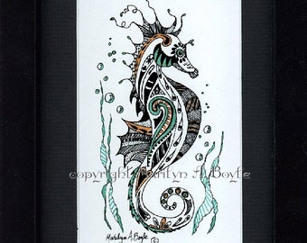 """COLORED PRINT of my original """" Under the Sea""""; metallic markers, miniature art, 6 x 8 inch black frame. 3 x 5 inch image size, wall art"""