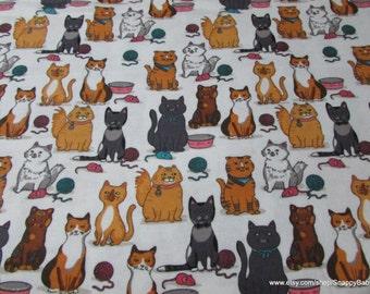 Flannel Fabric - Kitty Mice and Yarn - 1 yard - 100% Cotton Flannel
