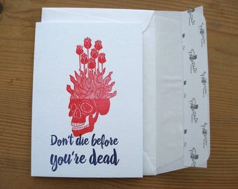 Folded Letterpress Card with skull  and envelope / A6