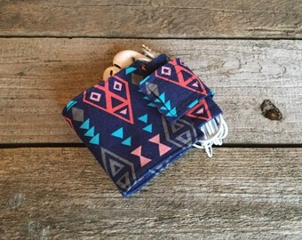 Wallet and Earbud Holder, Geometric Native American Print