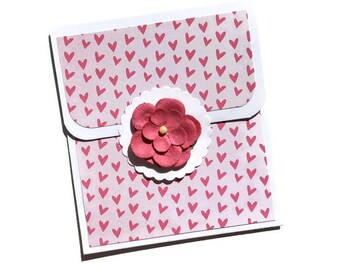 Floral and Hearts Gift Card Holder - Birthday Gift Card Holder - Money Card Insert - Money Card - Gift Card Envelope - Flower