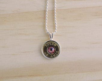 45 Caliber Brass Bullet Case Charm Necklace Pink-N-026