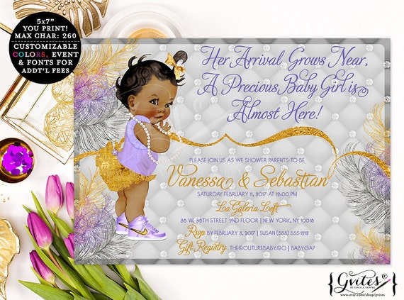 African American baby shower invitations, gold silver lavender purple, printable ethnic baby invitation, bows diamonds pearls, glitz glam.