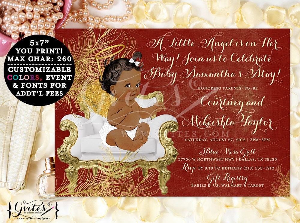African american baby shower invitations