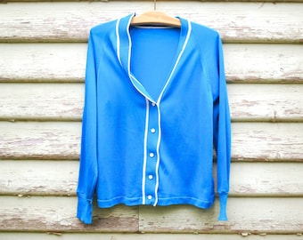 80s Vintage Blue Cardigan Button Up Sweater Hippie Retro Knitted Vtg 1980s Size S-L