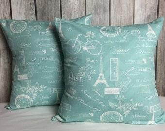Paris Pillow. Blue Pillow. Aqua Blue Pillow. Throw Pillow Cover. Throw Pillow. French Decor. French Pillow