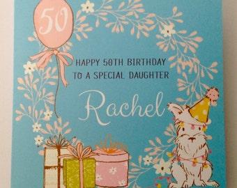 Personalised Watercolour  Mum, Nan, Grandaughter , Daughter, 13th 16th 18th 21st 30th 40th 50th 60th 70th 80th 90th 100th