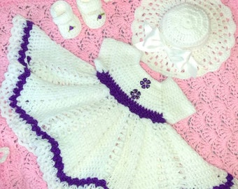 Crocheted baby set, white with purple trim