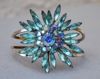Judy Lee Rhinestone Flower Brooch Assemblage Cuff Bracelet