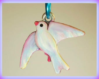 Dove Charm, Bird, Whimsical, Handmade, Hand painted, fired, Unique, Great gift for women and girls, permanent, White, Shiny, Sparkly, tinted
