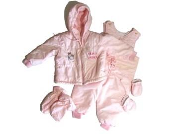 Quiltex Pink Beatrix Potter Hunca Munca Snowsuit, Jacket, Overalls,Mittens, Shoe Covers 4 piece set Baby Girl's 24 months
