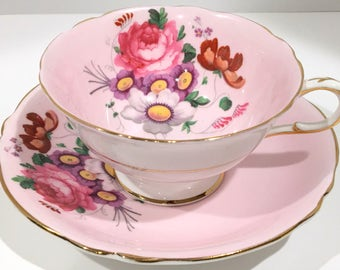 Antique Paragon Tea Cup and Saucer, Pink Paragon Cups, Double Warranty Paragon, Vintage Tea Party, English Bone China