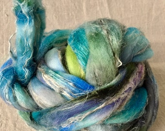 hand-dyed Merino silk linen combed tops 7, to the spinning and felting