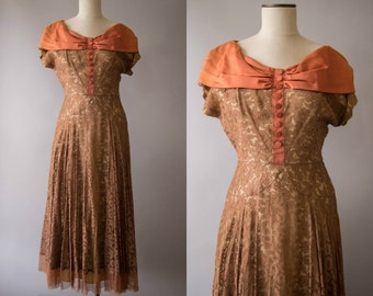 vintage 1950s dress / 50s brown lace dress / small