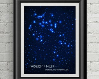 Our Stars - Personalized Zodiac Astrology Star Print - Custom Wedding gift, Birthday gift or Anniversary gift