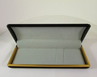 Black Velour Pen Box with Gold Trim finish --For smaller Pens