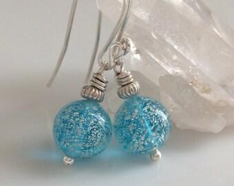 Aqua Venetian Glass Earrings / Murano Glass / Blue Glass Earrings / Sterling Silver Earrings