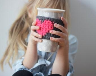 Mug Cozy, Coffee cozy, Coffee Cup Sleeve, Tea Cup Cozy, Knit Coffee Sleeve, Heart Coffee Sleeve, Drink Sleeve, Mug Warmer,  mug cosy, mug