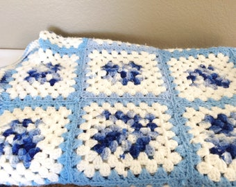 """Vintage Mixed Blues & White and off white   Hand Made Granny Square Crocheted Afghan-56"""" x 30"""""""