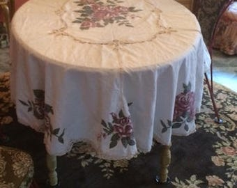 Battenburg Lace Tablecloth With Purple Roses Oval