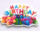 Happy Birthday Surprise Party Toppers Planar Resin Flat back Embellishments HB5117