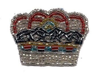 1 pc Silver colored Bead Crown Royalty Patch Applique