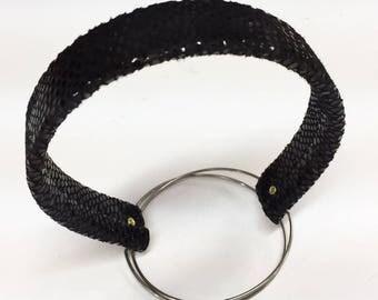 BLACK BROWN Velvet Leather Snakeskin frame for fur EARMUFFS