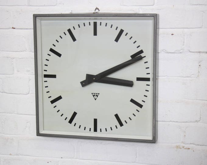 Dark Grey Industrial Factory Clocks By Pragotron Circa 1960's