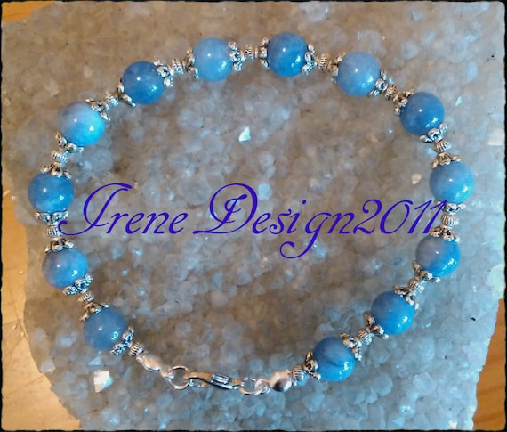 Handmade Silver Jewelry Set with Blue Aventurine by IreneDesign2011