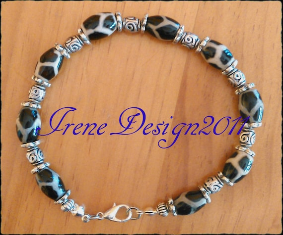 Handmade Silver Bracelet with Tibetan Agate & Roses by IreneDesign2011