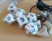 Cheetah set white dice with silver mesh bag and cheetah fang necklace D&D Pathfinder