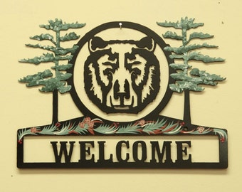 Bear Face Sign - Metal - Welcome - Personalized - Folkart Painted