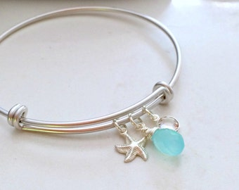 Personalized Aqua gemstone Bangle Silver Starfish Bangle Swarovski Birthstone Bangle April Aqua Jewelry Quartz Beach Wedding Bridesmaid Gift