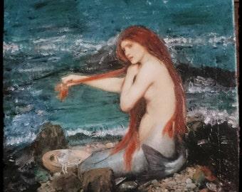 A mermaid art ,Art on Canvas,Mix-Media Mermaid,Mermaid painting,Siren on Canvas,Decoupage on Canvas,