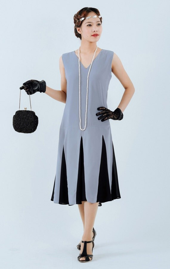 Downton Abbey Inspired Dresses Grey 1920s Gatsby dress with black skirt details grey flapper dress Miss Fisher dress grey Charleston dress 20s women dress 2oer kleid $130.00 AT vintagedancer.com