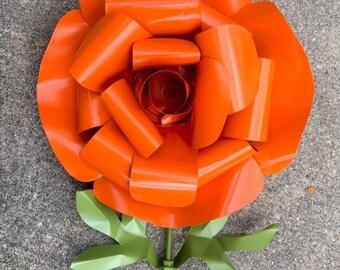 Recycled Metal Rose Large Garden Stake, Flower, Yard Art, Orange, Pink, Red, Coral, Blue, Yellow, Purple, Outdoor Lawn Decoration