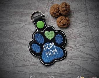 Pomeranian - Pom - Mom AND Mum Paw Print - In The Hoop - Snap/Rivet Key Fob - DIGITAL Embroidery Design