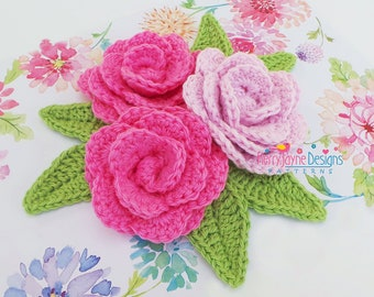 KERRYS CAMELLIA  FLOWER Pattern Crochet Flower Pattern Flower And Leaf Crochet Pattern Crochet leaf pattern Flower Crochet Pattern leaves
