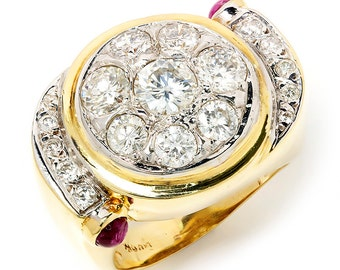 Vintage Round Diamond Cluster Ballerina Ring with Rubies in 14kt Gold 2.50ctw